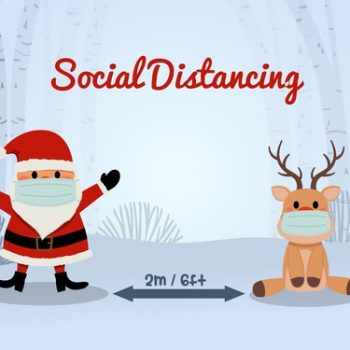 Social distancing in this end-of-the-year period: even Saint Nick and the reindeer are wearing a facemask and respecting the social-distancing rules.