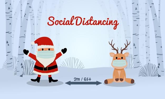 Social distancing in deze eindejaarsperiode: ook de kerstman en het rendier dragen een mondmasker en respecteren de social distancing-regels.